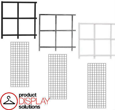 Pack Of 3 2ft X 5ft Grid Gridwall Panels Black White Or Chrome