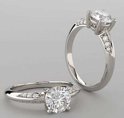 1.20 carat Round Diamond 14k white Gold Engagement Ring F VS1 w/ GIA certificate