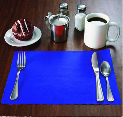 """MH Paper 2000 Blue Placemats, Scalloped Edge,10""""x14"""", Disposal, Flat"""