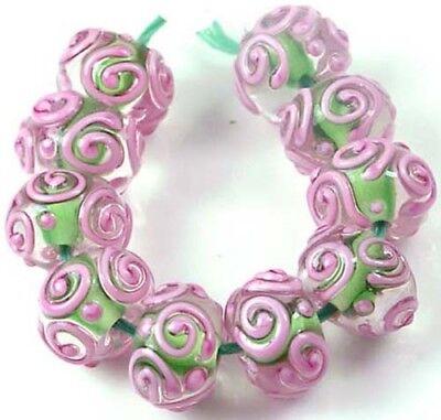LAMPWORK Handmade Glass Pink Green Raised Scroll Rondelle Beads (10) Scroll Lampwork Bead