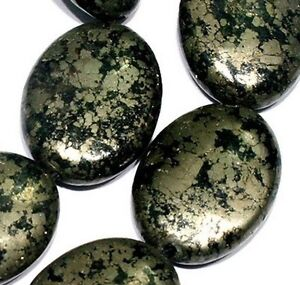 15x20mm-Natural-Darkkhaki-Pyrite-Flat-Oval-Beads-16