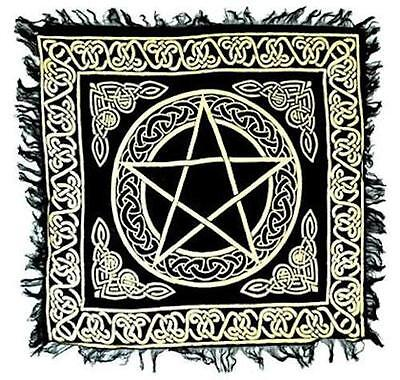 "Fringed Gold on Black Pentagram Altar Cloth 18""x18""!"