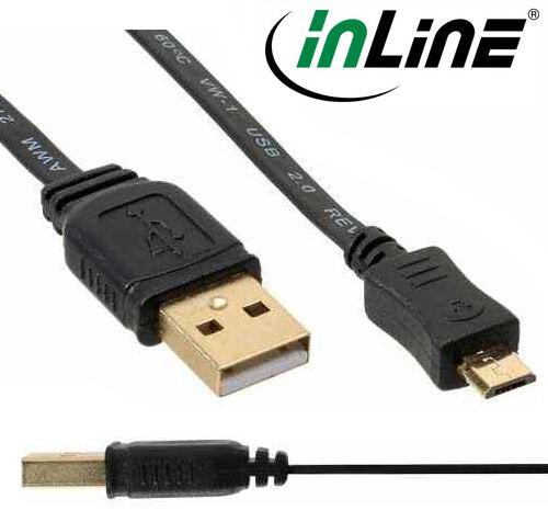 InLine Micro-USB 2.0 Flachkabel, A Stecker an Micro-B Stecker, vergoldet, 3m