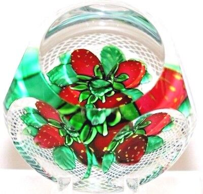 LARGE Beautiful ST LOUIS Multi Faceted STRAWBERRIES Art Glass PAPERWEIGHT, COA