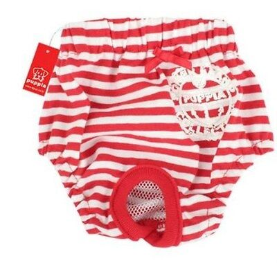 Puppia Pullup Dog Diaper Training Panty Outfit Bottoms - RED STRIPE - SIZE LARGE Dog Diaper Training Panties