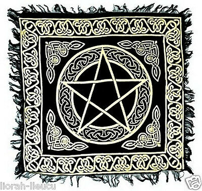 Gold & Black Pentacle Celtic Knot Altar Cloth 18 X 18 Pagan Witchcraft Wicca