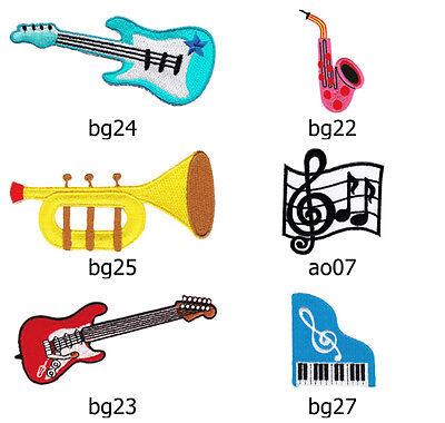 Conjunto #058 Instrumentos Parche Planchar Guitarra Eléctrica Piano Trompeta