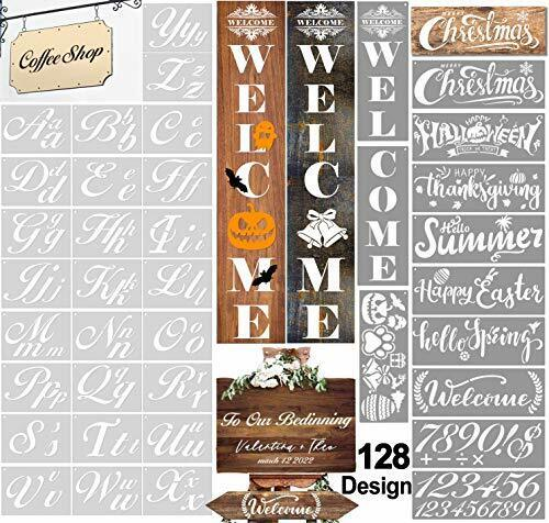 HALLOOKI Letter Stencils for Painting on Wood, 38 PCs Large Alphabet and