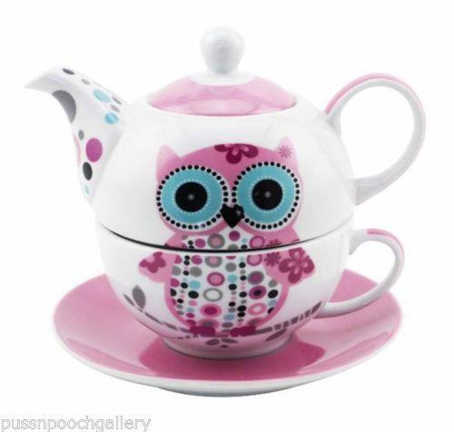 owl tea set ebay. Black Bedroom Furniture Sets. Home Design Ideas