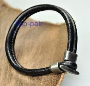 Mens-Cool-Double-4mm-Leather-Bracelet-Wristband-Black