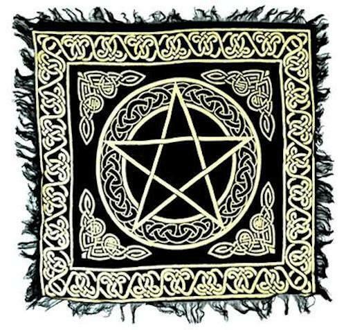 """Fringed Gold on Black 18""""x18"""" Pentagram Altar Cloth!"""