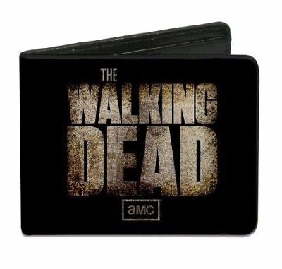Amc The Walking Dead Official Logo Bi Fold Wallet Credit Card Id Holder  Black