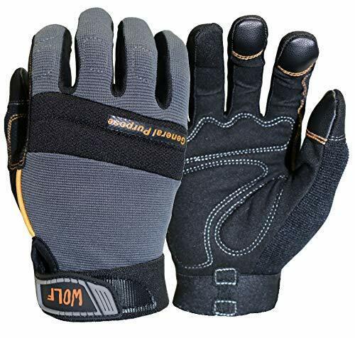 WOLF Work Gloves Mechanic Glove Heavy Duty All-purpose Stret