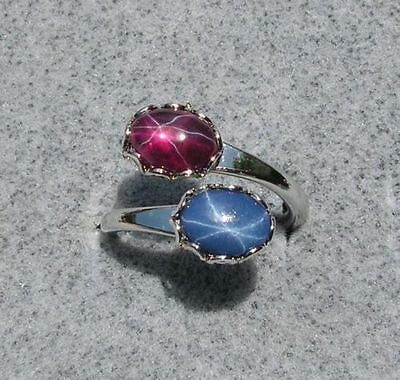 Linde Lindy Trans Red Star Ruby Created Sapphire Star Blue 2Nds Ring Npm