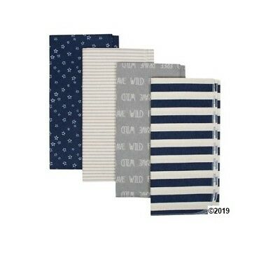 Gerber Baby Boy 4-Piece Organic Cotton Navy/Gray Flannel Blankets