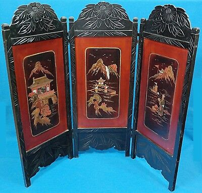 Chinese Wood Carved & Painted Old Country Scene 3 Panel Byobu