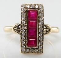 Gorgeous 9k Gold Art Deco Ins Long Indian Ruby & Diamond Ring Free Resize -  - ebay.co.uk