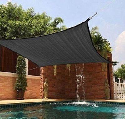 8x12ft 90% UV Black Outdoor Garden Canopy Shade Cloth Fabric Sunblock Anti-heat