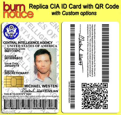 Burn Notice Replica CIA Michael Westen PVC ID Card with QR code - COSPLAY