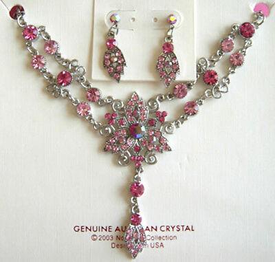 (FJ29) New Gorgeous beautiful Crystal Fashion Necklace  Earrings - Beautiful Gorgeous Crystal Necklace Earring