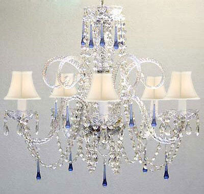 Blue Crystal Chandelier Chandeliers Lighting with White Shades! ()