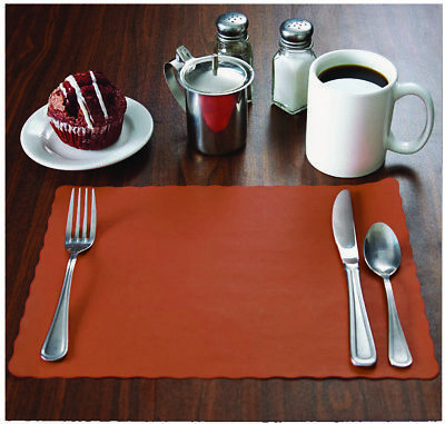 MH Paper 50 Rust/Terra Cotta Placemats, Scalloped Edge,10x14,Disposal,Ships Free