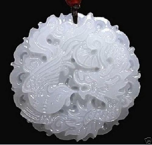 natural hand-carved Chinese jade pendant - dragon Phoenix Natural
