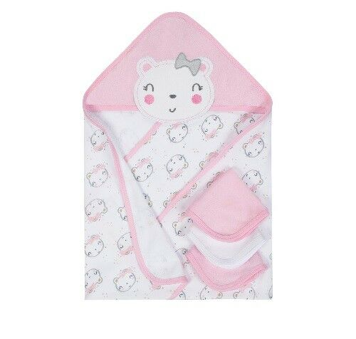 Gerber Baby Girl 4-Piece Pink Bear Organic Cotton Terry Bath Set