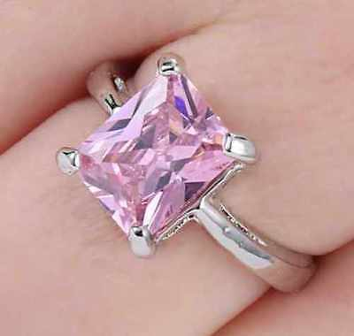 (PRINCESS CUT Pink Sapphire HOPE Ring Size 6 10K White Gold Solid Band USA SELLER)