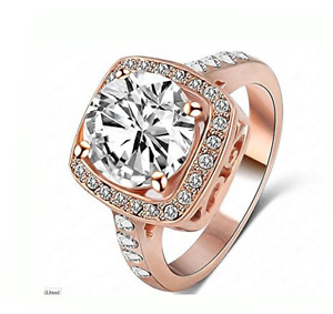 CUBIC ZIRCONIA ROSE GOLD PLATED RING SIZE 6