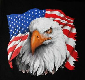 GORGEOUS UNITED STATES OF AMERICA BALD EAGLE PATRIOTIC USA FLAG T SHIRT 587