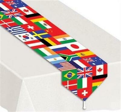 International Flags Laminated Paper Table Runner Olympics Travel Decoration