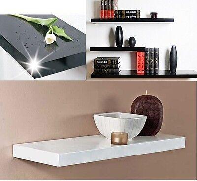 One High Gloss Floating Wall Display Shelves Bookshelf Shelf Storage 14 sizes