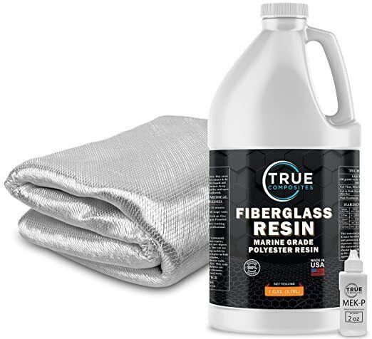 Fiberglass Repair Kit 1 Gallon of Polyester Resin and 1708x38x5 Yards Fiberglass