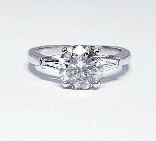 2.30 CT GIA Cert Round Brilliant Diamond Solitaire Engagement Ring Light Gray