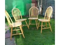 4 x solid farmhouse wheelback project chairs dining