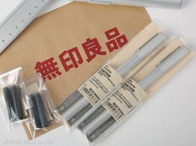 Value set!! MUJI Aluminum Round Fountain Pen 2 Pen + 2 Cartridge pack Set Fine