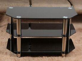 Black Glass 3 Shelf Curved TV Stand