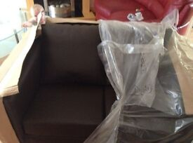 2 and 3 seater brown faux leather sofas