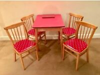 Red Formica Table and x4 chairs with polka dot Cath Kidston material.