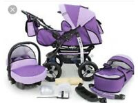 3 in 1 Pram Pushchair Car seat With Rain Cover And Extras