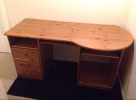Computer desk, pine wood.