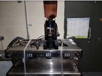 3 group magister coffee machine + iberital grinder.