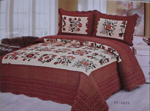 King Size 100% Cotton 3 Piece Quilt Sets-NOT MICRO FIBER