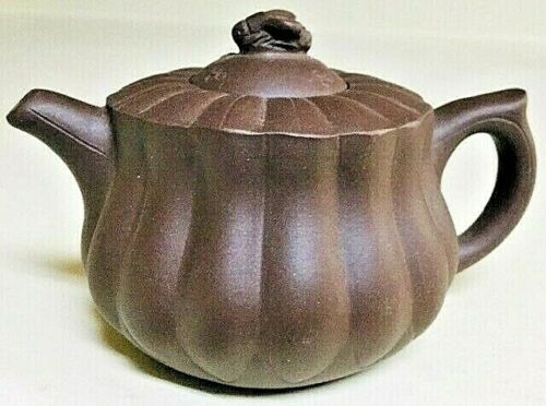 Vintage Collectible Chinese Handmade Yixing Dark Brown Ribbed Teapot