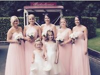 Pink Designer Kelsey Rose bridesmaid dresses