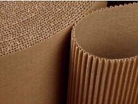 Corrugated cardboard packing roll. 20cm wide. Brown