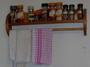 Wood spice shelf / towel rack