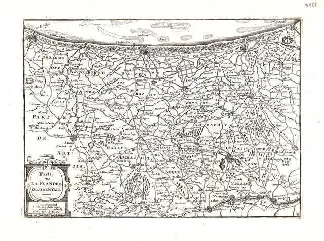 Antique map, Partie de la Flandre Occidentale