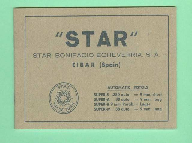 Star Model SUPER S, A, B, M Owners Manual Reproduction